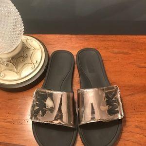 MK Logo Metallic Slide Sandals